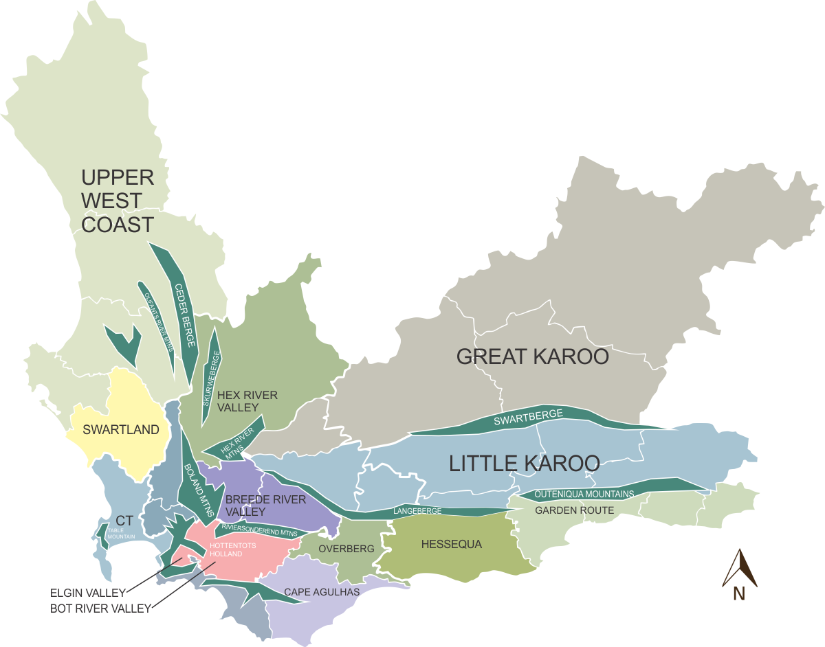 map western cape mountain ranges and zones