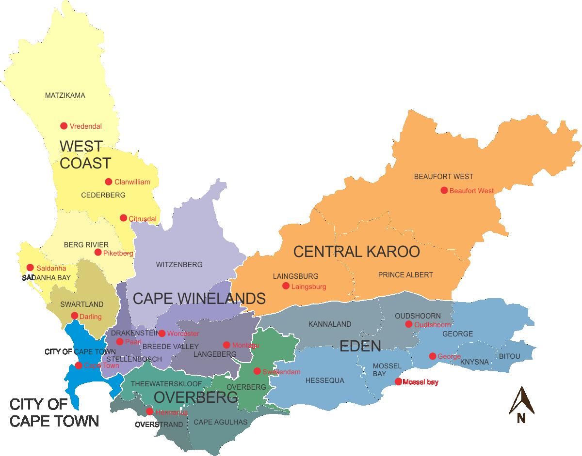 map western cape municipal districts